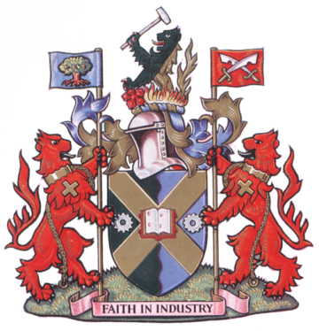 Arms of the former Borough of Edmonton; click the image to read more